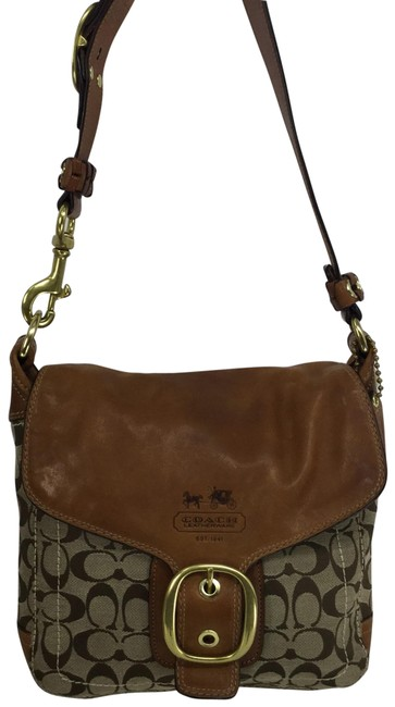 Item - Shoulder Bleecker Signature Flap Braided Strap 11434 Brown Natural Whiskey Tan Leather and Jacquard Messenger Bag