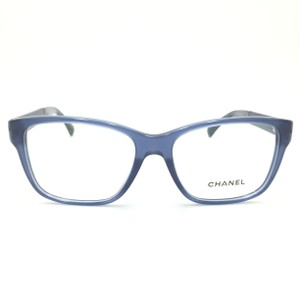 Chanel Chanel Rectangle Translucent Blue Leather Rx Eyeglasses c.3310 Q-A