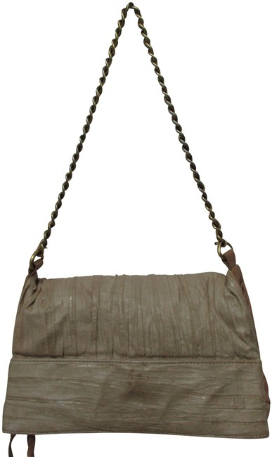 Item - Lucky Penny Ruched Fold Over Taupe Leather Shoulder Bag