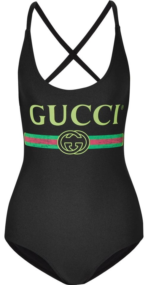 315cbc4b Gucci Black Sparkling Swimsuit with Logo Print One-piece Bathing Suit Size  4 (S)