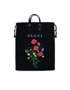 Gucci New With Tags Canvas Floral Print Tote in Black