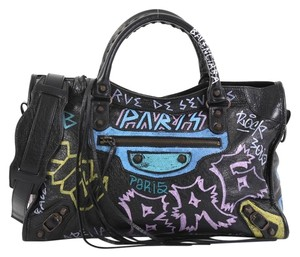 Balenciaga City Graffiti Satchel in black