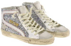 Golden Goose Deluxe Brand G35ws595 A38 Sneakers Slide Italy Sparkling Glitter Pink White Athletic