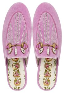 Gucci Princetown Velvet Crystal Loafers Pink Flats
