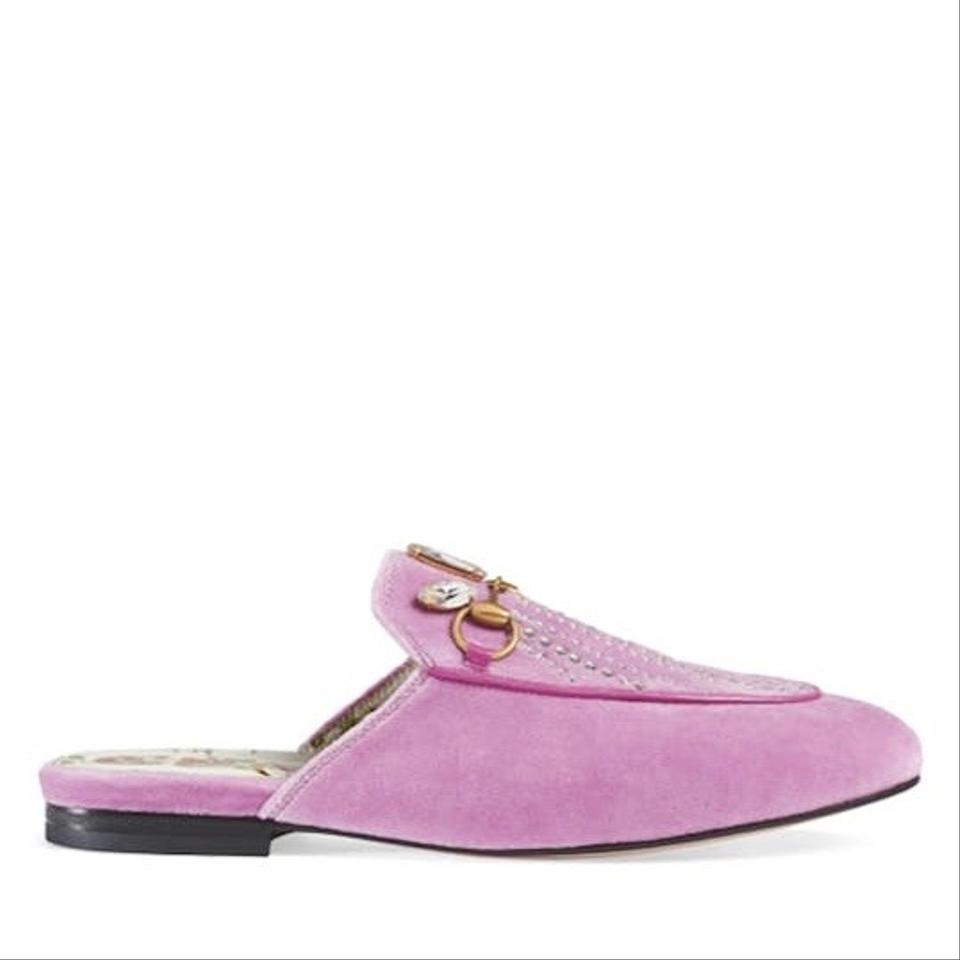 f738a7d085 Gucci Pink Velvet Princetown Loafers Mules with Crystals Flats Size EU 38.5  (Approx. US 8.5) Regular (M, B) 8% off retail