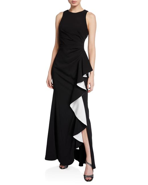 Item - Black/White Infusion Contrast Ruffle Ruched Column Gown Long Formal Dress Size 6 (S)