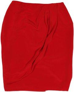 Dana Buchman Silk Lined Career Office Skirt Red