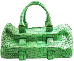 Bottega Veneta Crocodile Skin Tote in green