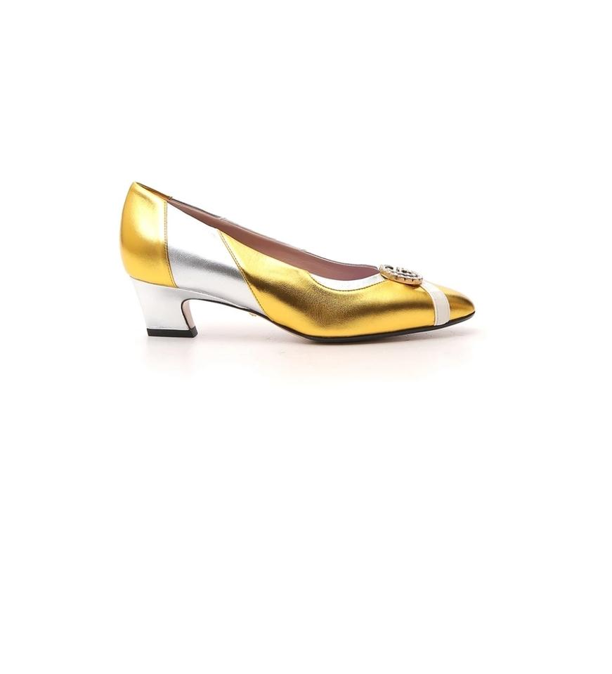 e96c9740a Gucci Gold Ct New Gg Crystal Embellished 7.5 Pumps Size EU 37.5 ...