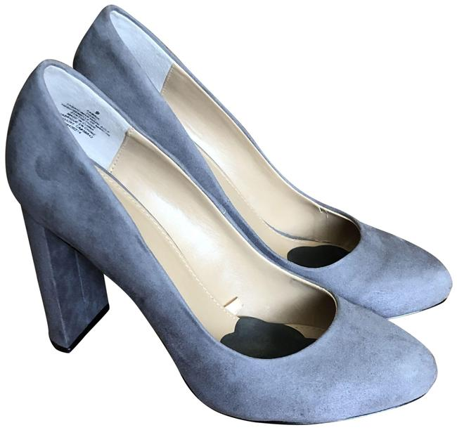 Item - Gray Suede Faux Thick Heeled Pumps Size US 9 Regular (M, B)