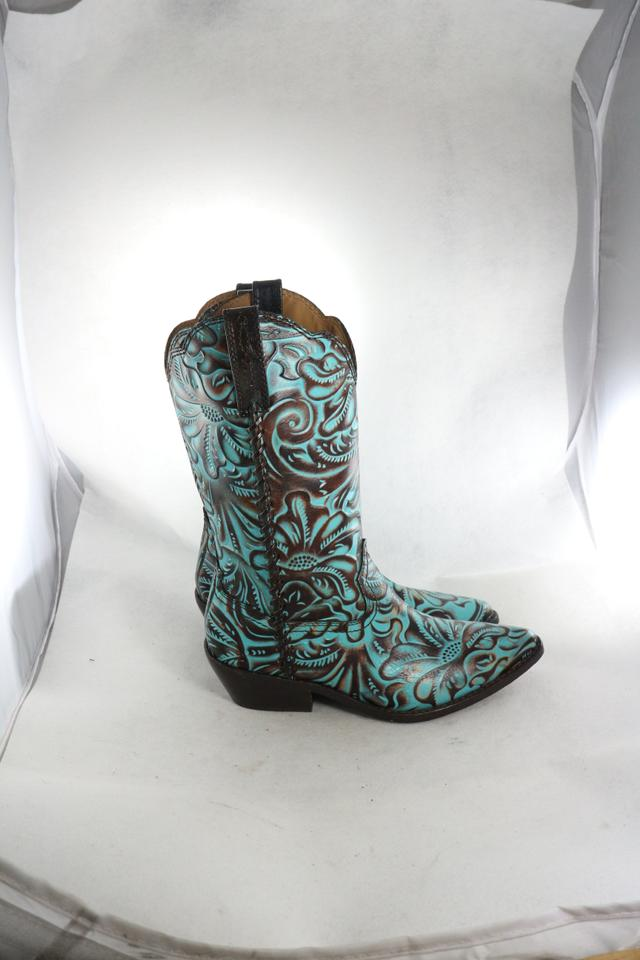 f8023433ee3 Patricia Nash Designs Turquoise Womens Bergamo Cowboy Western Embossed  Boots/Booties Size US 6 Regular (M, B) 42% off retail