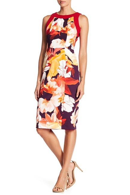 Item - Multicolor Rohan Floral Sheath Mid-length Cocktail Dress Size 6 (S)