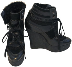 Burberry Runway Shearling Suede Leather Wedge High Tops Black Boots