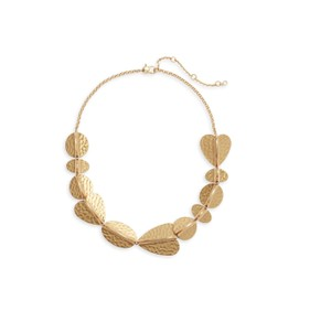 Kate Spade NWT KATE SPADE HAMMERED PETAL STATEMENT NECKLACE GOLD TONE W DUST BAG