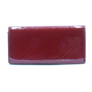 Burberry Classic Check Embossed Patent Leather Large Zip Around Wallet