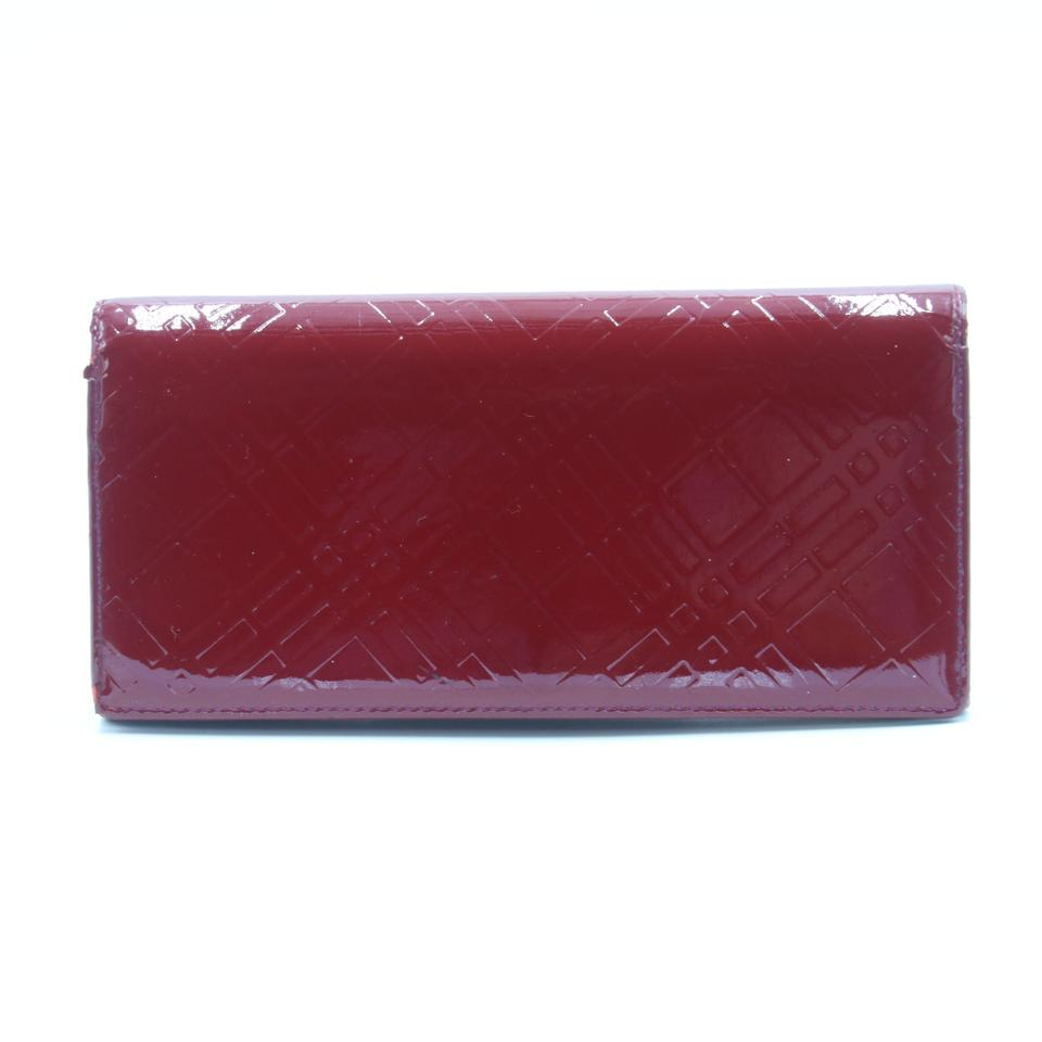 Burberry Embossed Leather Zip Around Wallet: Burberry Red Classic Check Embossed Patent Leather Large