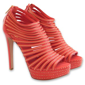 Dior Strappy Studded Open Toe Stiletto Red, Gold Platforms
