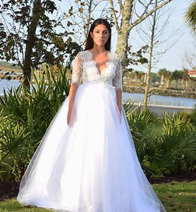 Lisa Nieves White Ivory Lace and Tulle & Gown Formal Wedding Dress Size 6 (S)