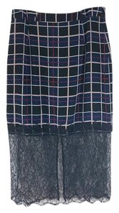 Lovers + Friends Lace Plaid Pencil Revolve Skirt Black / Blue / Red / White
