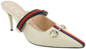Gucci Blue Red Silver Bit Grosgrain White Mules