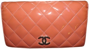 Chanel CHANEL CC Logo Quilted Patent Leather Long Bifold Wallet & Box & Card