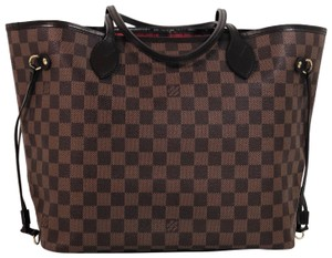 Louis Vuitton Lv Neverfull Neverfull Mm Damier Canvas Shoulder Tote in Brown