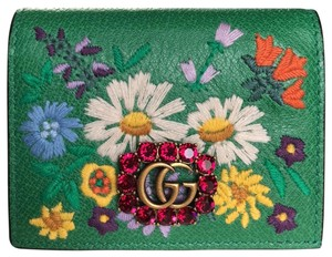 Gucci GG Crystals Green Leather Embroidered Floral Card Case Mini Wallet