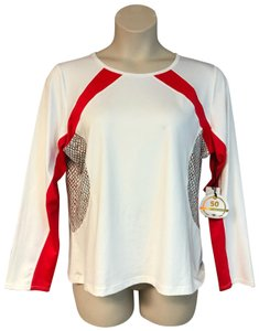 TAIL NWT TAIL ACTIVE WEAR RED TRIM WHITE TENNIS UPF 50 TOP XL