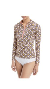Tory Burch Tory Burch Geo-Print Long-Sleeve Rashguard sz M