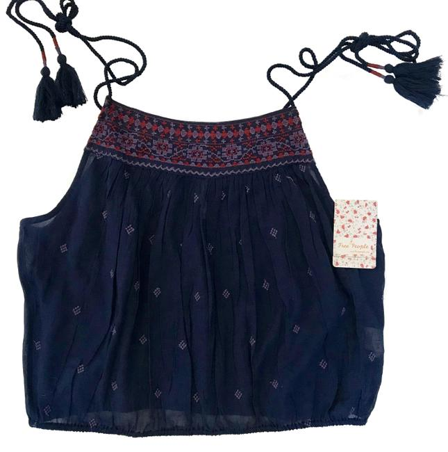 Free People Blue Eternal Love Embroidered Tie Strap Tank Top/Cami Size 4 (S) Free People Blue Eternal Love Embroidered Tie Strap Tank Top/Cami Size 4 (S) Image 1