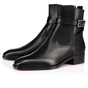 Christian Louboutin Buckled Ankle Strap Chelsea Black Boots