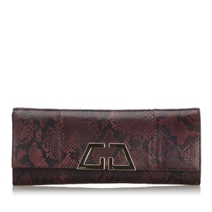 Gucci 9ggucl001 Vintage Snakeskin Leather Red Clutch