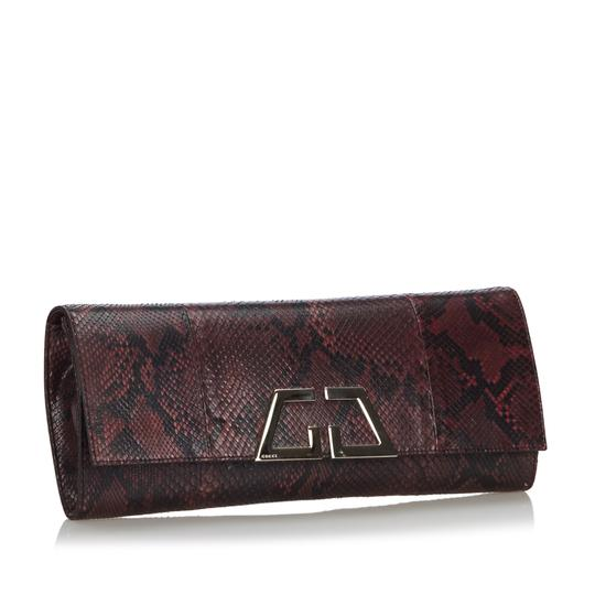 Gucci 9ggucl001 Vintage Snakeskin Leather Red Clutch Image 1