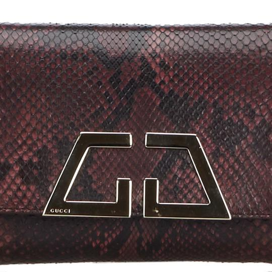 Gucci 9ggucl001 Vintage Snakeskin Leather Red Clutch Image 10