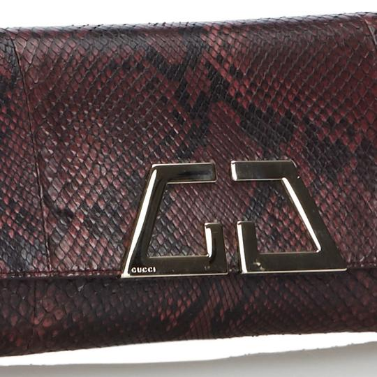 Gucci 9ggucl001 Vintage Snakeskin Leather Red Clutch Image 11