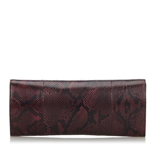Gucci 9ggucl001 Vintage Snakeskin Leather Red Clutch Image 2