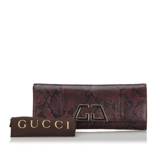 Gucci 9ggucl001 Vintage Snakeskin Leather Red Clutch Image 9