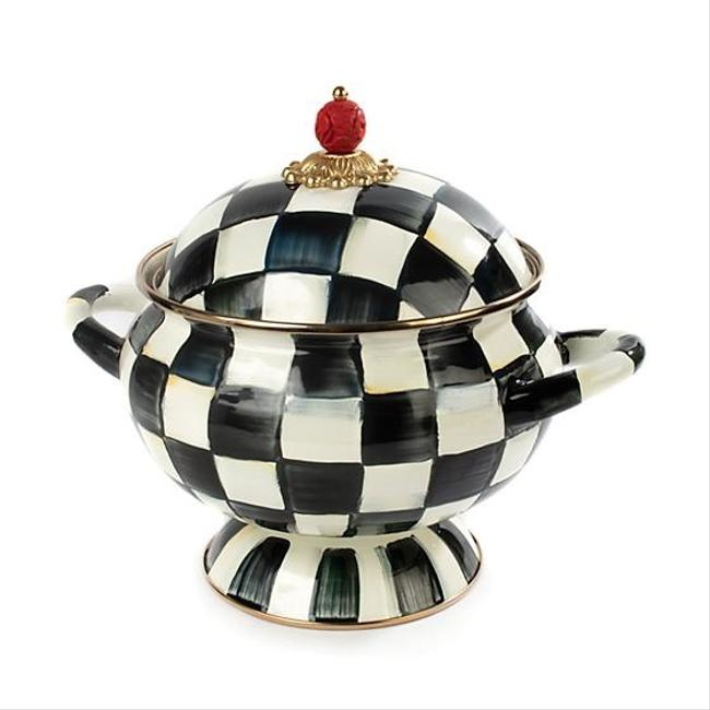 Item - Black and White Courtly Check Enamel Tureen Fine China
