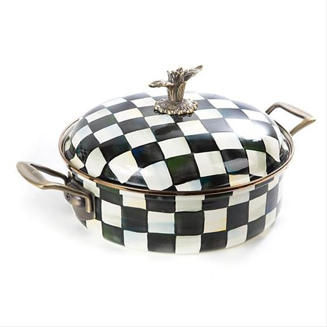 Item - Black and White Courtly Check Enamel Casserole Dish Fine China