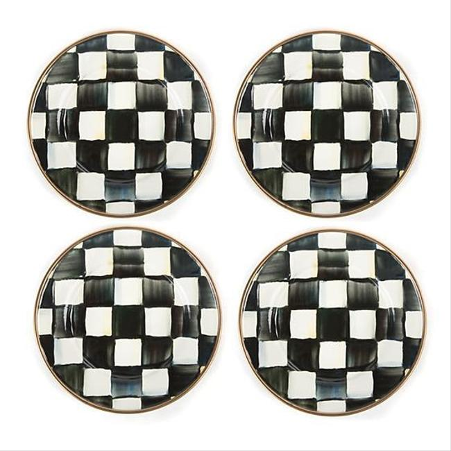 Item - Black and White Courtly Check Enamel Canape Plates Fine China