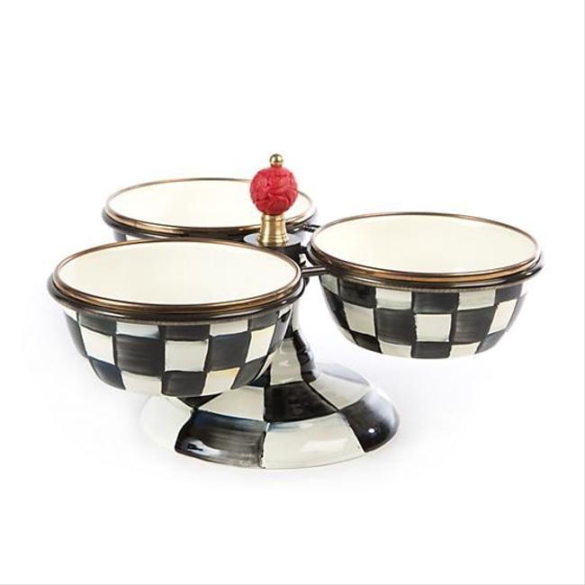 Item - Black and White Courtly Check Enamel Triplicity Bowls Fine China