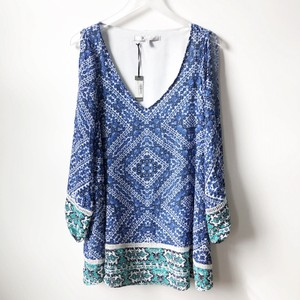 Lovers + Friends short dress Blue / White / Green Cold Sleeves Revolve Shopbop on Tradesy