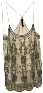 W118 by Walter Baker Camisole Beaded Racer-back Top Off White