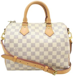 Louis Vuitton Lv Speedy 25 Canvas Satchel in White