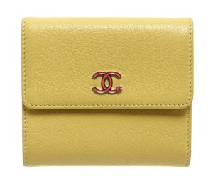 Chanel Chanel Yellow Leather Pink CC Compact Wallet