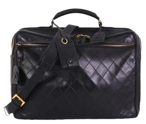 Chanel Vintage Lambskin Quilted black Travel Bag
