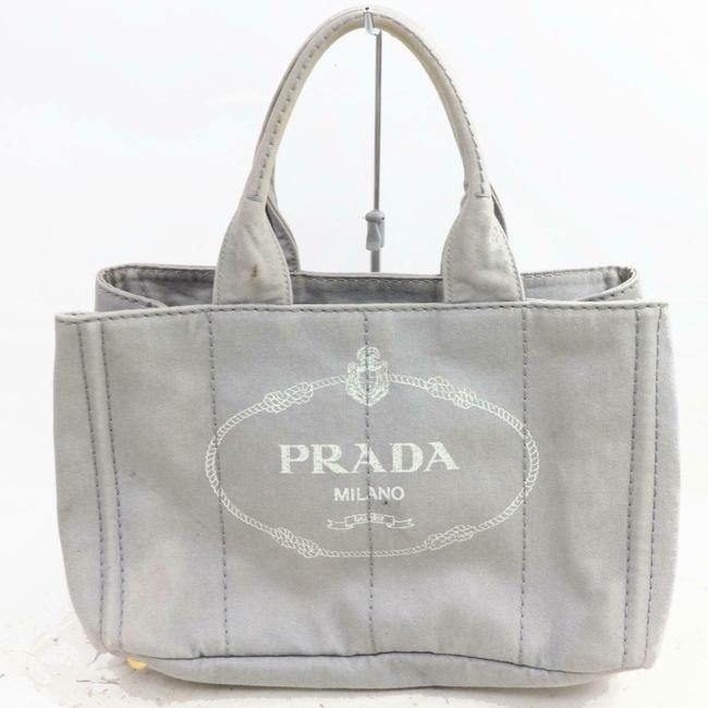 Item - Shoulder Bag Canapa Way Style Satchel/Tote Or Cross Body/Shoulder Grey Heavy Canvas with A White Xl On One Side and Leather Tote