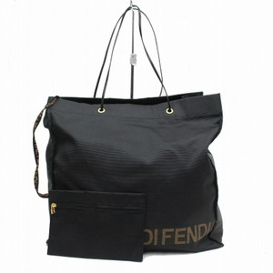 Fendi Xl W Has Attached Wallet Mint Condition Xl W Print Tote in black canvas with FENDI logo in brown around bottom