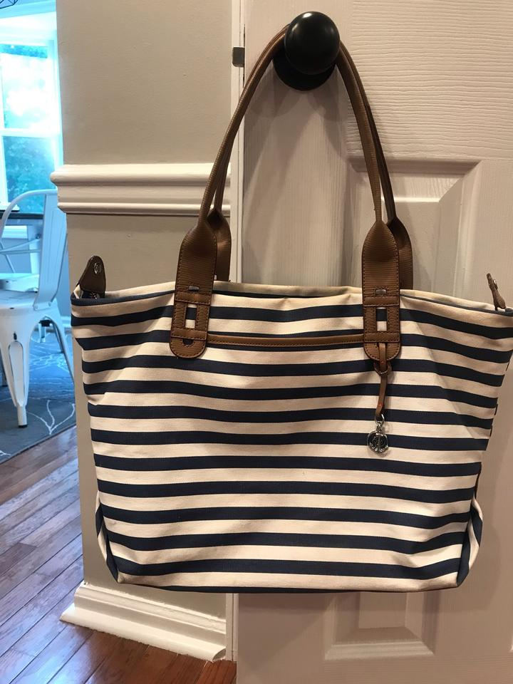 Stella Dot How Does She Do It Blue And White Tote 54 Off Retail