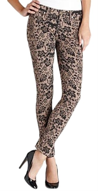 Item - Brown Black Floral Damask Ultra Skinny Jeans Size 6 (S, 28)